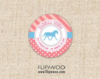 Horse/Pony Western Favor or Address Label Tags by FLIPAWOO - Customized Printable File