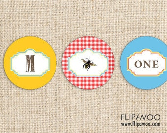 Picnic Bee Party Tag Design by FLIPAWOO - For Favor Tags, Cupcake Toppers and Stickers - Customized Printable