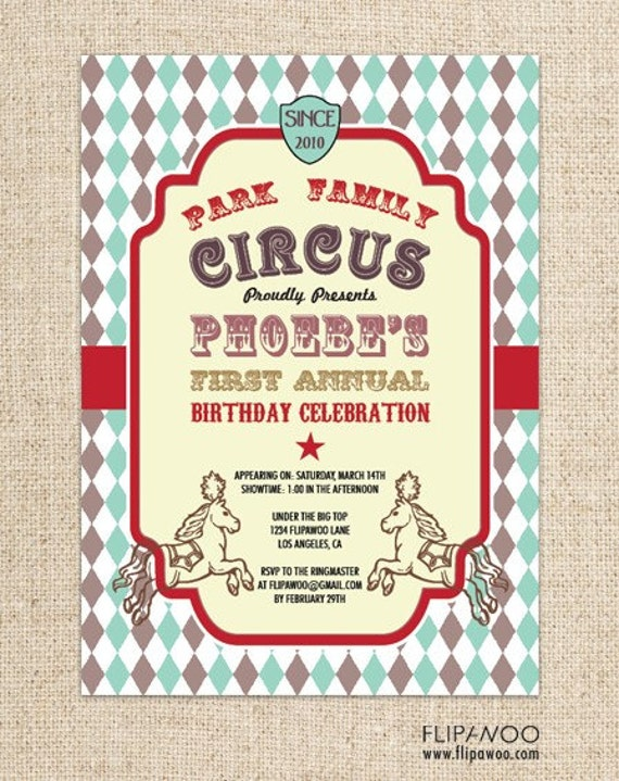 Vintage Circus or Carnival Invitation for a Birthday Party (Diamond Pattern) by FLIPAWOO - Customized Printable File