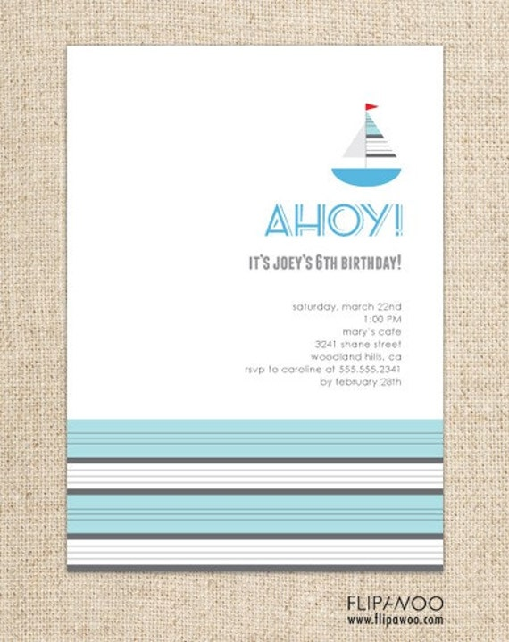 Sailboat Invitation by FLIPAWOO - Customized Printable File