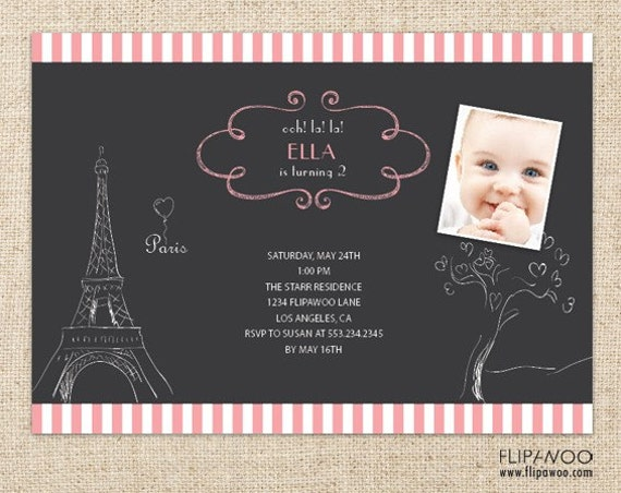 Paris Birthday or Shower Invitation - Chalkboard Style with Doodle Drawing Invitation - Customized Printable File