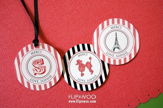 Paris Themed Party Tags/Circles and Labels by FLIPAWOO - Customized Printable