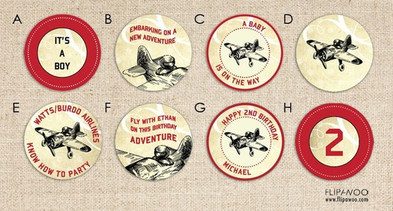 Vintage Airplane Tags, Labels, or Toppers by FLIPAWOO - Customized Printable File