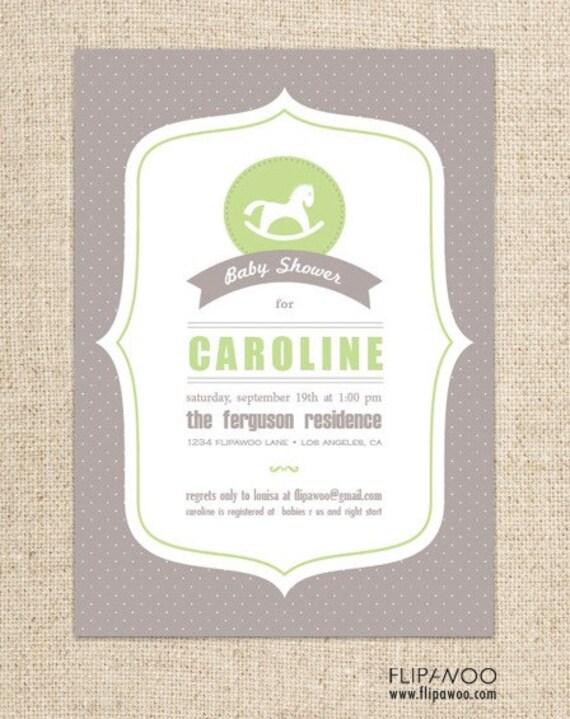 Baby Shower Rocking Horse Invitation Design by FLIPAWOO  - Customized Printable File