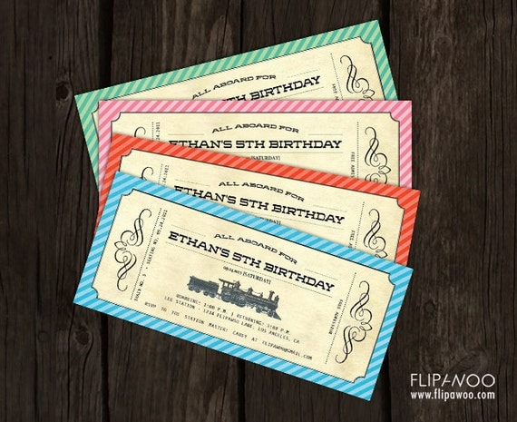 Vintage Train Birthday Invitation Ticket (Boarding Pass Style), Train Part Invite - Customized Printable File