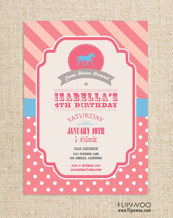 Horse/Pony Western Cowgirl Invitation Design for a Birthday Party by FLIPAWOO  - Photo Option Available - Customized Printable File