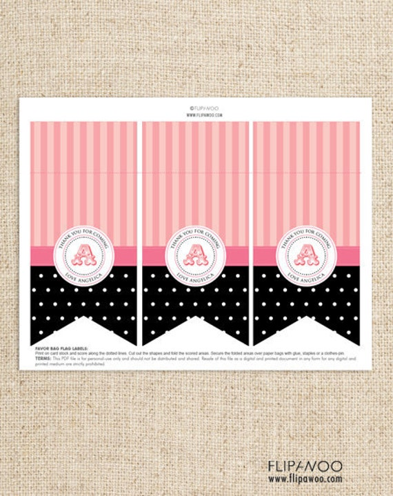 Paris Favor Bag Labels or Toppers by FLIPAWOO - Passport to Paris Collection - Customized Printable File