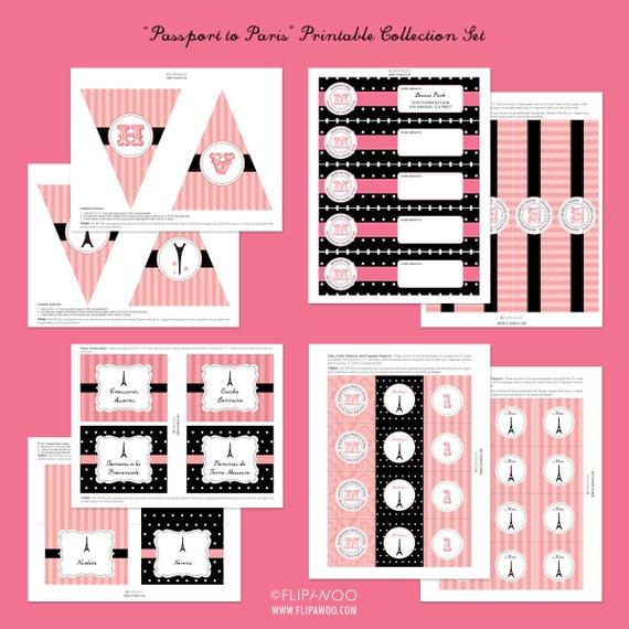 Paris Birthday Party or Shower Premium Printable Set by FLIPAWOO - Passport to Paris Collection - Customized Printable Files