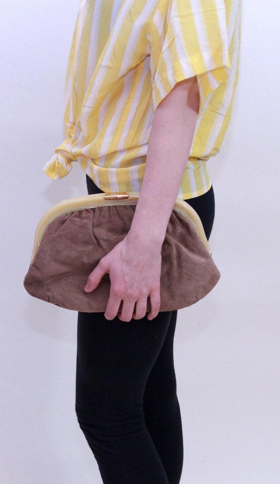 1960-70, Ruth E. Saltz - Signature Mouse Brown Suede Clutch Handbag (NEW)