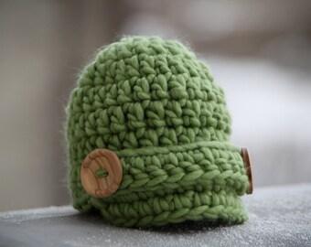 Newsboy baby hat newborn visor brim beanie in green photography prop