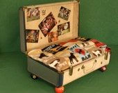 UpCycled Suitcase Pet Bed, Billiards, Man Cave, Pool Ball, Poker