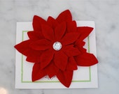 Beautiful Deep Red Poinsettia Flower Hair Clip with Rhinestone Center