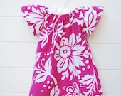 Short Sleeve Peasant Dress in Hot Pink Hawaiian Floral..Sizes 0-3 Months to 3T...YOU PICK FABRIC- Custom Made