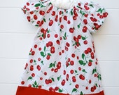 Short Sleeve Peasant Dress in Red Cherry with Red Trim...Sizes 0-3 Months to 3T...YOU PICK FABRIC- Custom Made