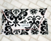 Crayon Clutch in Black & White Damask- MULTIPLE FABRICS AVAILABLE