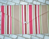 Pink, Green, Tan and White Stripe Diaper & Wipes Clutch