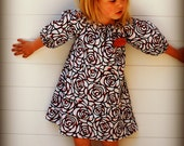 Red, White & Black Rose Peasant Dress with 3/4 Length Elastic Sleeves..0-3 Months to 3T...YOU PICK FABRIC