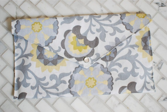 Grey and Yellow Modern Floral Pattern Diaper and Wipes Clutch