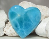 Larimar heart shaped cabochon, impressive big AAA turtle back volcanic turquoise blue Larimar gem - 159.0 ct