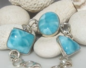 Larimar bracelet - Blue Lagoon Dreams, gorgeous tropical turquoise Larimar matched AAA gemstones