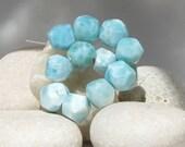 Larimar faceted beads, 12 beautiful assorted aqua blue Larimar 9 mm tiny gems - 58.5 ct