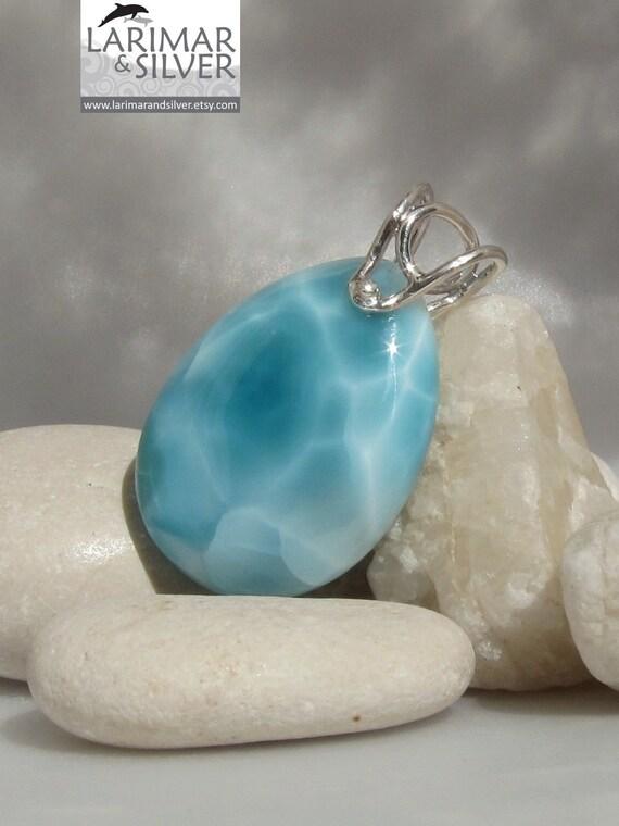 Larimar pool pattern pendant, Sleeping Mermaid - striking aquamarine Larimar chubby teardrop