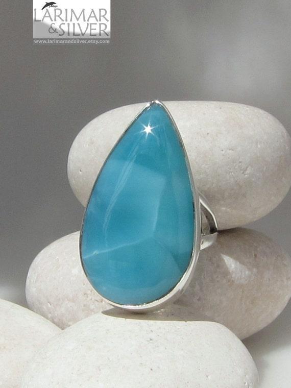 Larimar AAA ring, Teal Tides - impressive iridescent turtleback teal Larimar gemstone - US 5.75