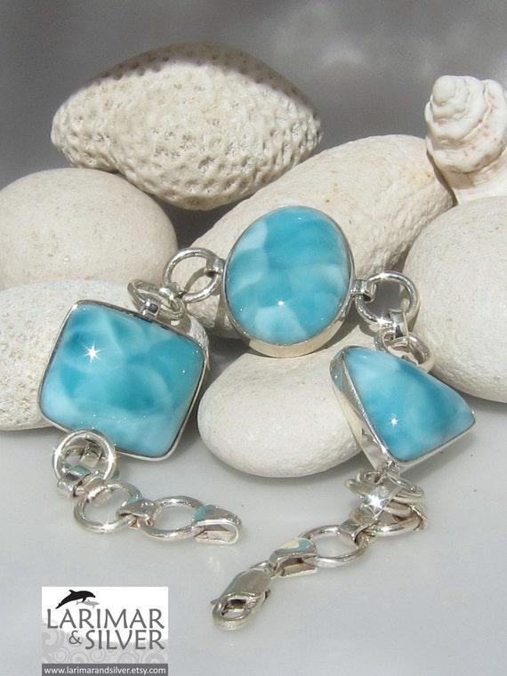 Larimar bracelet - Blue Lagoon Dreams, gorgeous tropical turquoise Larimar matched AAA gemstones
