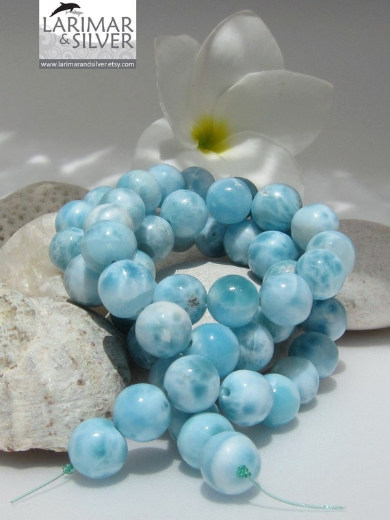 Larimar AA beads, gorgeous aqua blue 9 mm gems - 246.5 ct