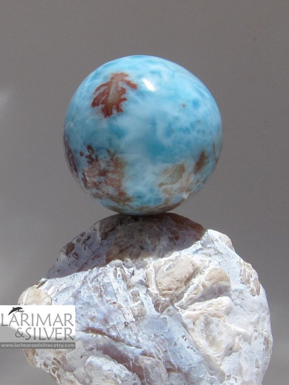 Larimar sphere - Flames in the water, amazing  26 mm red pattern gemstone - 157.0 ct