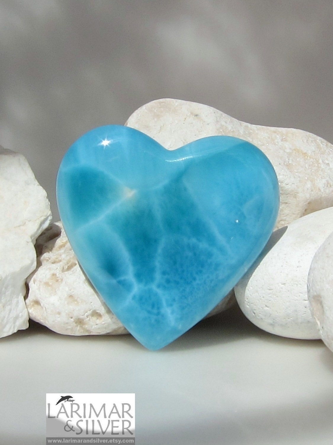 Larimar Heart Shaped Cabochon Impressive Big Aaa Turtle Back