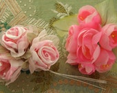 pick one lovely vintage style millinery rose corsage bouquets stamen pink flowers satin chiffon two types