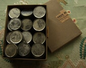 Vintage box of metal tins 54 tiny little pots