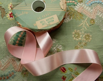 one yard vintage shimmery pink satin ribbon rayon trim 1 inch wide buttery soft millinery ribbonwork