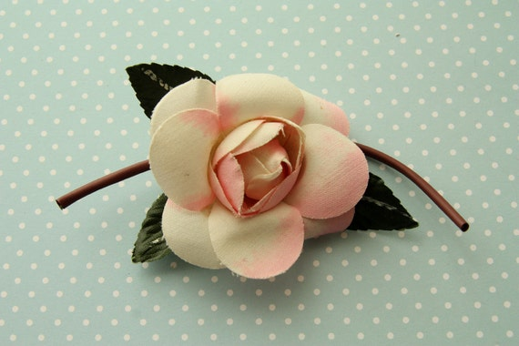 Vintage millinery rose duo tone pink spray hat adornment