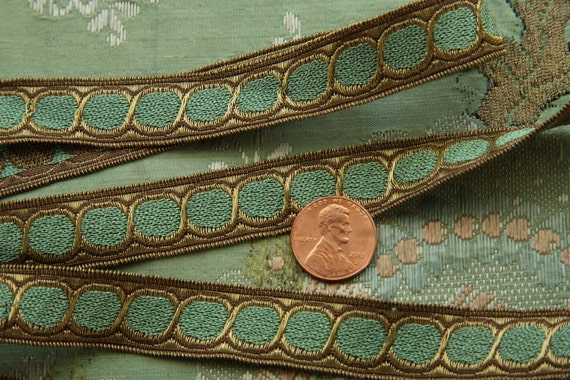 sale-one yard vintage metal wire ribbon trim. aqua circles french doll dress millinery ribbonwork flapper