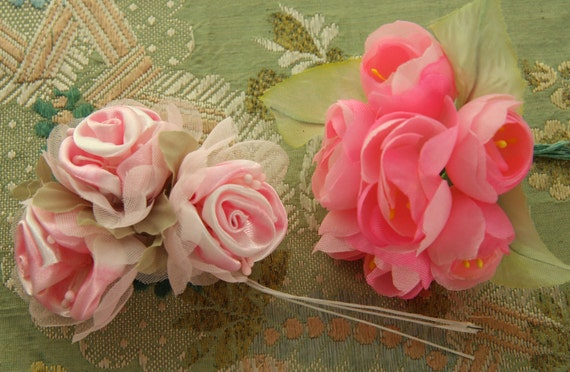 lovely vintage style millinery rose corsage bouquets stamen pink flowers satin chiffon set of two