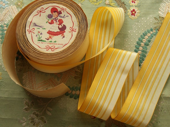 reseved-1.5 yard French vintage antique woven stripe ribbon trim silky feel