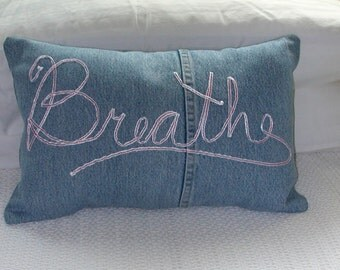 Upcycled Denim Pillow - Breathe