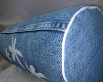 Denim Roll Pillow -  Upcycled Denim