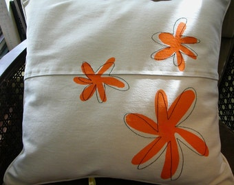 Pillow with orange flowers -  Upcycled Denim