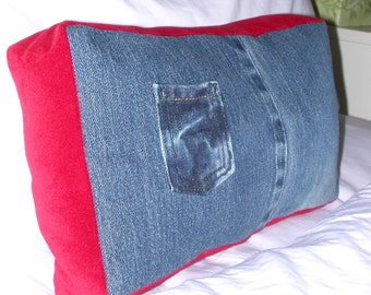 Tooth Fairy Pocket Pillow -  Upcycled Denim Pillow