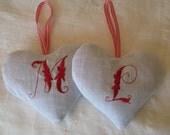 Red on White Monogrammed Linen Heart French Lavender Sachet