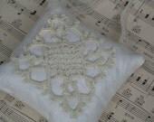 Antique Linen Lavender Sachet with Tatted Lace Applique
