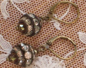 Vintage Brass Rhinestone Rondelle Earrings with Dainty Pink Crystal Bead Accents