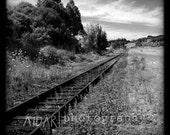 Train Tracks Wall Art Square Fine Art Photography, Black and White, Landscape, Nature, Scenery, Travel