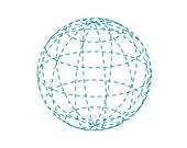 Globe, Geometric, Wall Art Print, Circle, Sphere, Teal, Blue, World