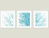 Modern Winter Tree Branches Art Prints - Set of 3 - Turquoise Blue and White - Tree Wall Art - Nature Art Prints - Tree Triptych Wall Art