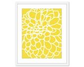 Dahlia Flower No. 1 - Wall Art Print - Modern Home Decor - Yellow