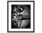 Totem Native Art Photography, Gifts for Men - Tribal Face - Black and White - Under 30
